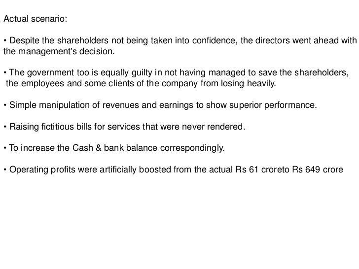 Governance failure at satyam case analysis  Corporate