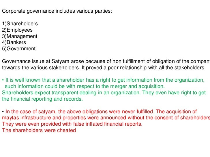 Corporate Governance Failure at Satyam Case Solution & Answer