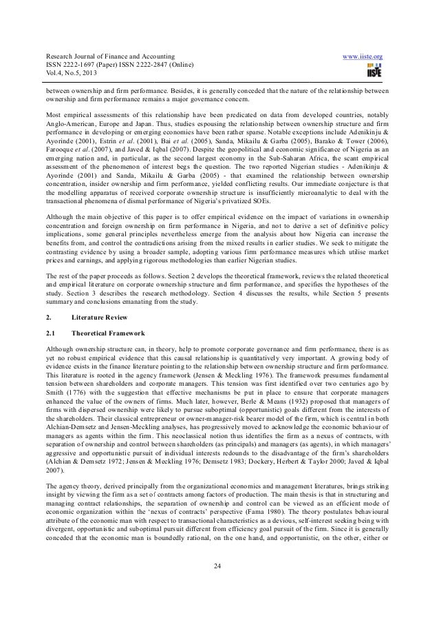 corporate governance and firm performance Corporate governance is concerned with the process and structures through which members interested in the overall well being of the firm take measures to protect the interests of the stakeholders (ehikioya, 2009) corporate governance generally refers to the external rules and regulations and.