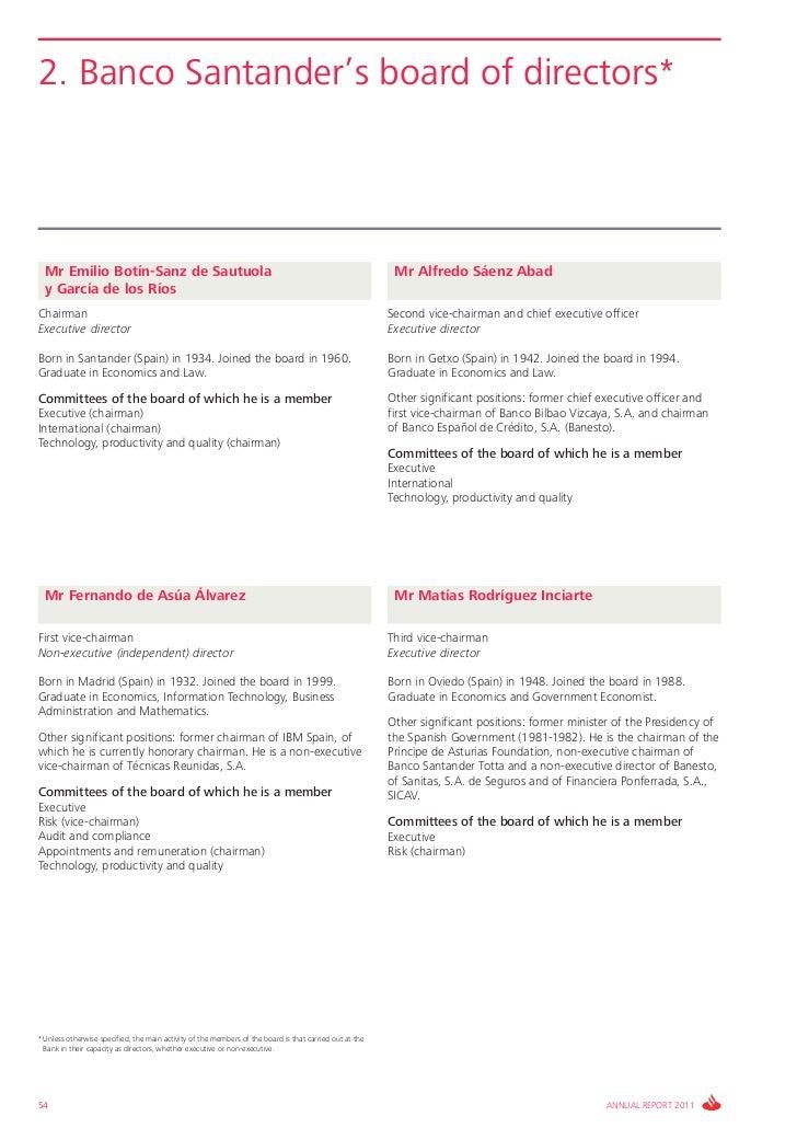 2. Banco Santander's board of directors*  Mr Emilio Botín-Sanz de Sautuola                                                ...