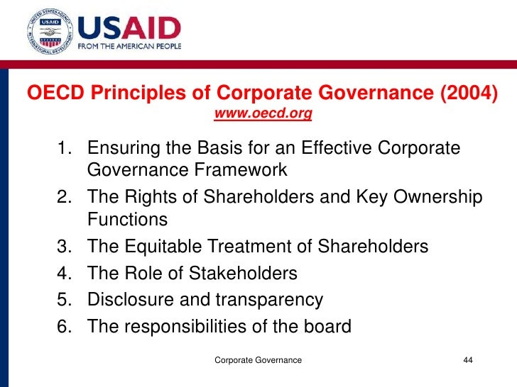 1 what are the oecd principles of corporate governance explain each principle briefly