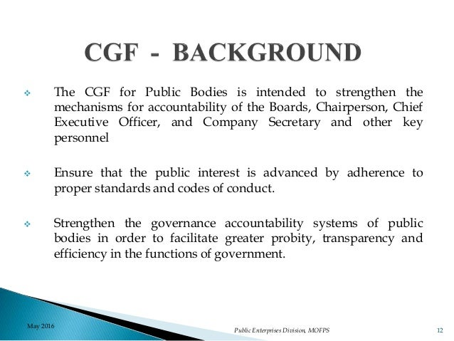 Corporate Governance Framework For Public Bodies