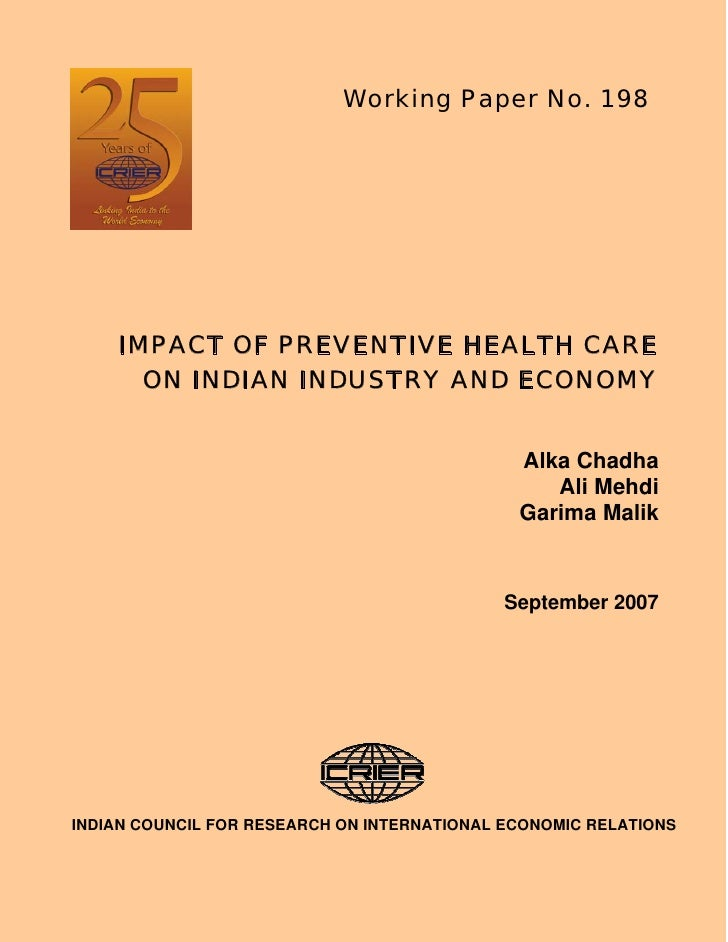 Working Paper No. 198         IMPACT OF PREVENTIVE HEALTH CARE       ON INDIAN INDUSTRY AND ECONOMY                       ...