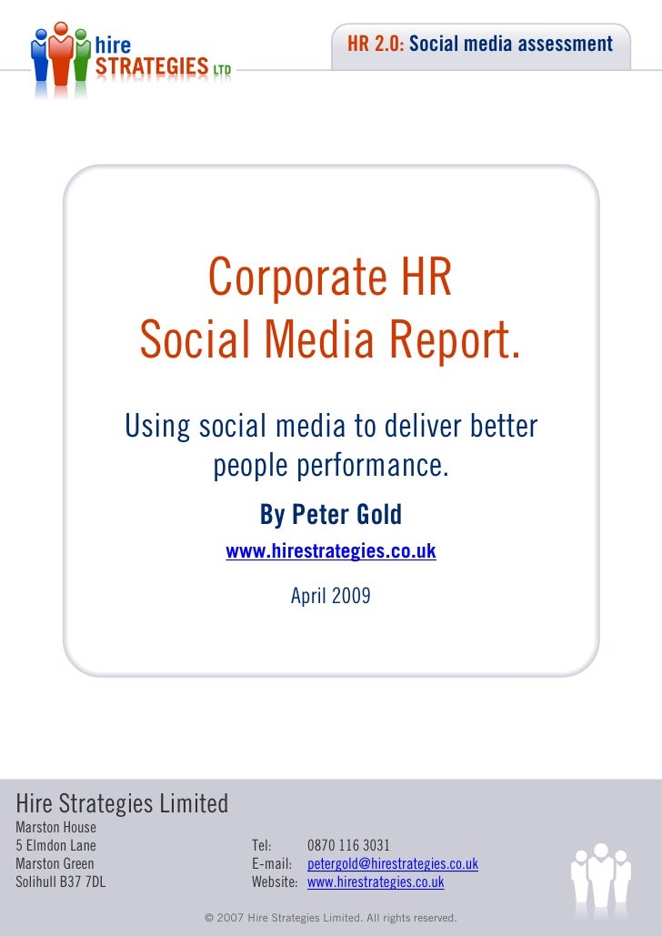 HR 2.0: Social media assessment                            Corporate HR                     Social Media Report.          ...