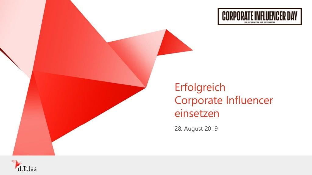 Vortrag auf dem Corporate Influencer Day: Erfolgreicher Corporate Influencer einsetzen - klaus eck - d.tales