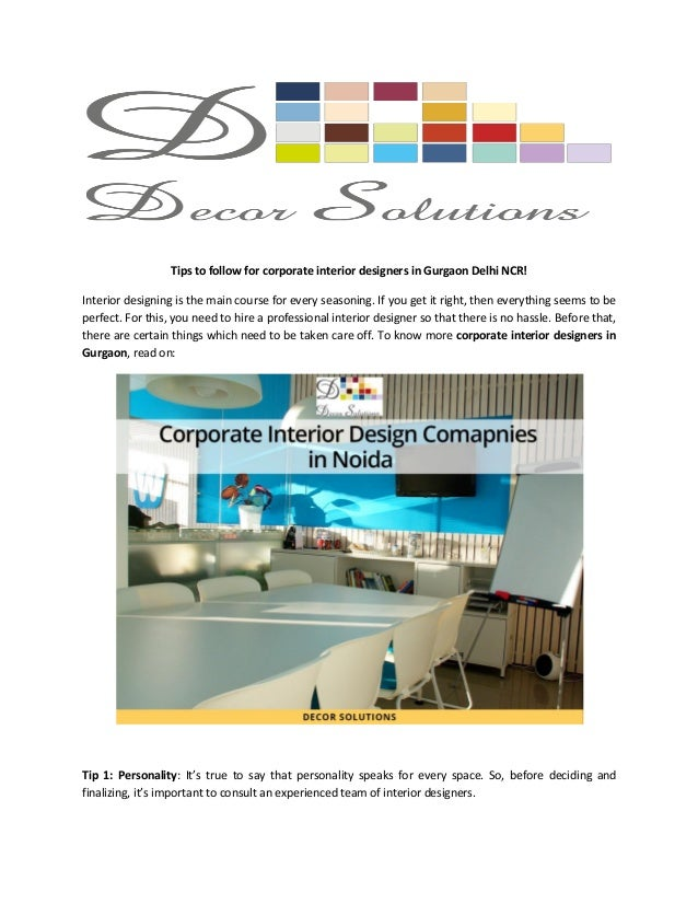 tips to follow for corporate interior designers in gurgaon delhi ncr