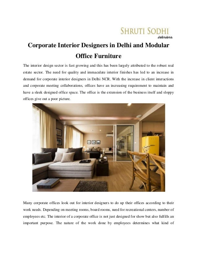 Corporate Interior Designers In Delhi And Modular Office Furniture The Interior  Design Sector Is Fast Growing ...