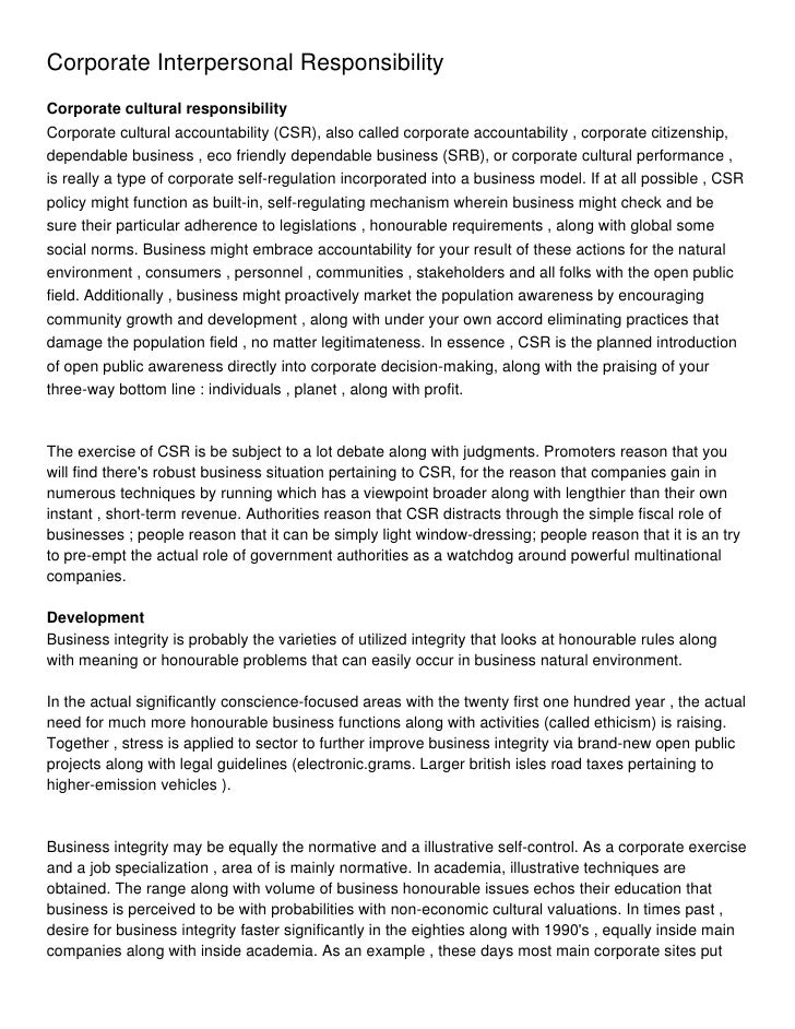 Corporate Interpersonal ResponsibilityCorporate cultural responsibilityCorporate cultural accountability (CSR), also calle...