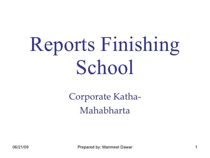 Reports Finishing School Corporate Katha- Mahabharta