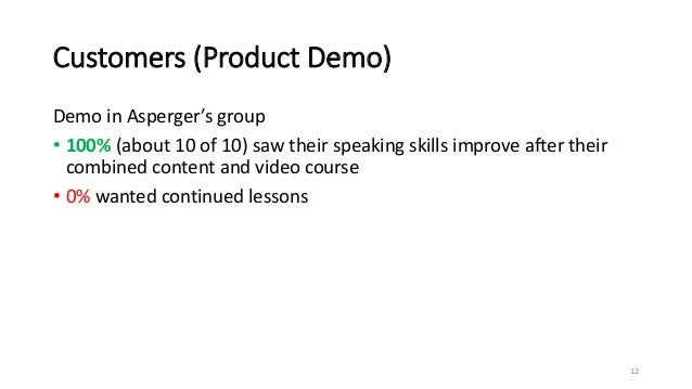 Customers (Product Demo) Demo in Asperger's group • 100% (about 10 of 10) saw their speaking skills improve after their co...