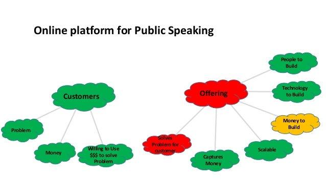 Online platform for Public Speaking Customers Money Problem Offering Solves Problem for customer Captures Money Scalable M...