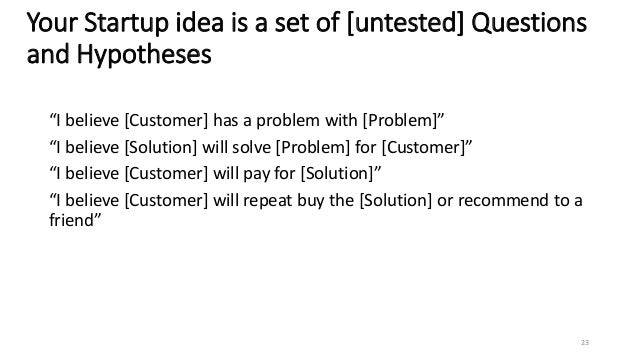 """Your Startup idea is a set of [untested] Questions and Hypotheses """"I believe [Customer] has a problem with [Problem]"""" """"I b..."""