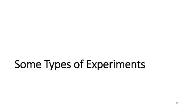 Some Types of Experiments 27