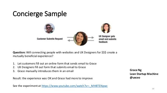 Concierge Sample 39 Grace Ng Lean Startup Machine @uxceo Question: Will connecting people with websites and UX Designers f...