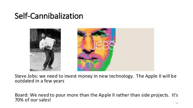 Self-Cannibalization 53 Steve Jobs: we need to invest money in new technology. The Apple II will be outdated in a few year...