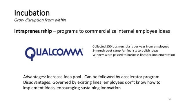 Incubation Grow disruption from within Intrapreneurship – programs to commercialize internal employee ideas 58 Advantages:...
