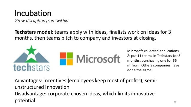 Incubation Grow disruption from within Techstars model: teams apply with ideas, finalists work on ideas for 3 months, then...
