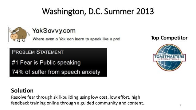 Washington, D.C. Summer 2013 9 Top Competitor Solution Resolve fear through skill-building using low cost, low effort, hig...
