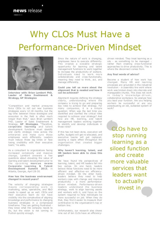 Why CLOs Must Have a          Performance-Driven Mindset                                               Since the nature of...