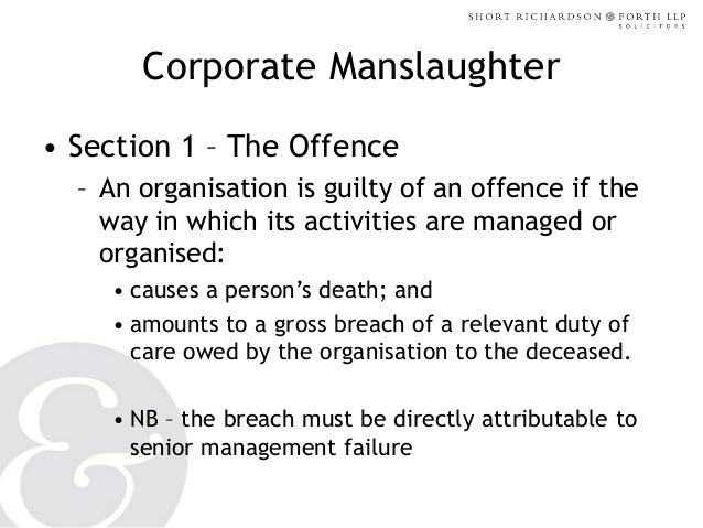 Corporate manslaughter - NESHEP 03 12 13