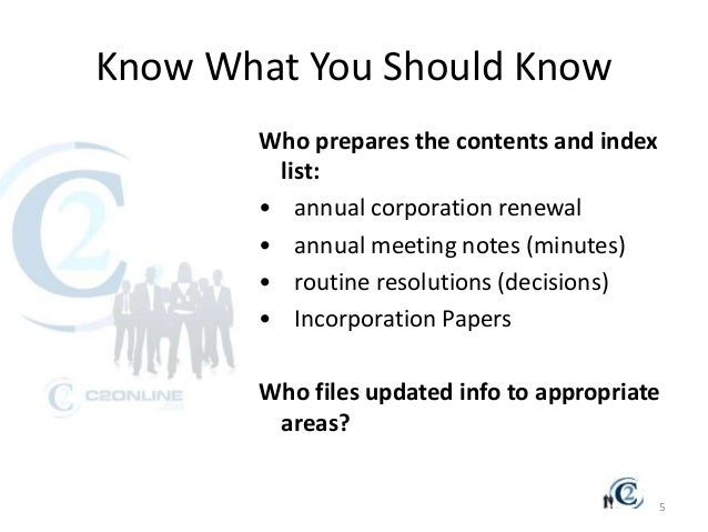 corporate minutes amp annual registration ppt