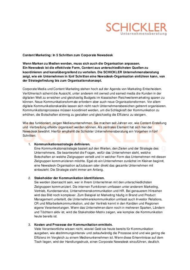 Content Marketing: In 5 Schritten zum Corporate NewsdeskWenn Marken zu Medien werden, muss sich auch die Organisation anpa...