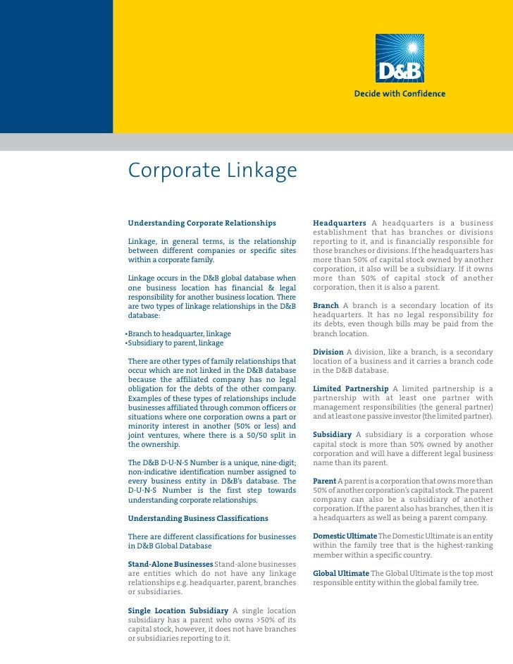 Corporate Linkage  Understanding Corporate Relationships                 Headquarters A headquarters is a business        ...
