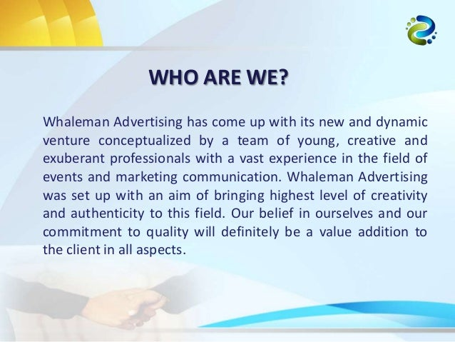 Whaleman advertising company profile for Advertise for companies