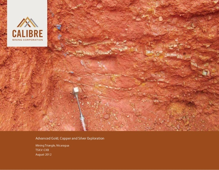 Advanced Gold, Copper and Silver Exploration 	   Mining Triangle, Nicaragua 	   TSX.V: CXB 	   August 2012