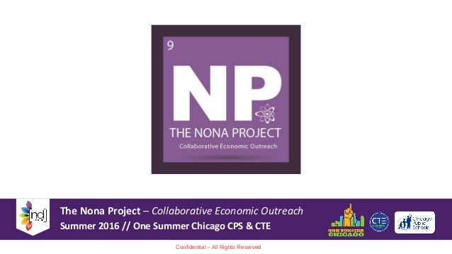The Nona Project – Collaborative Economic Outreach Summer 2016 // One Summer Chicago CPS & CTE Confidential – All Rights R...
