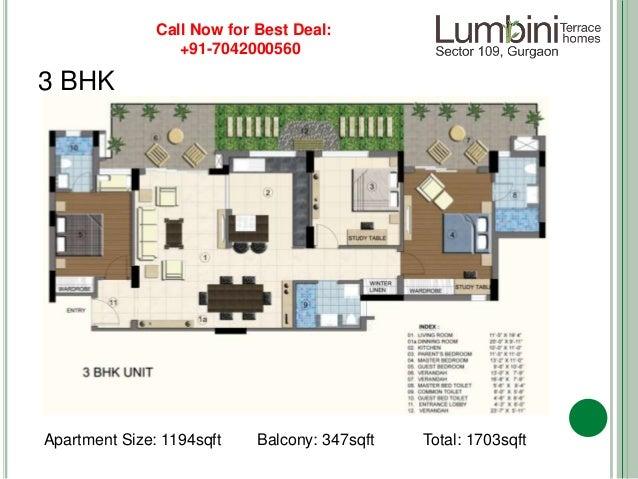 15 3 bhk apartment size