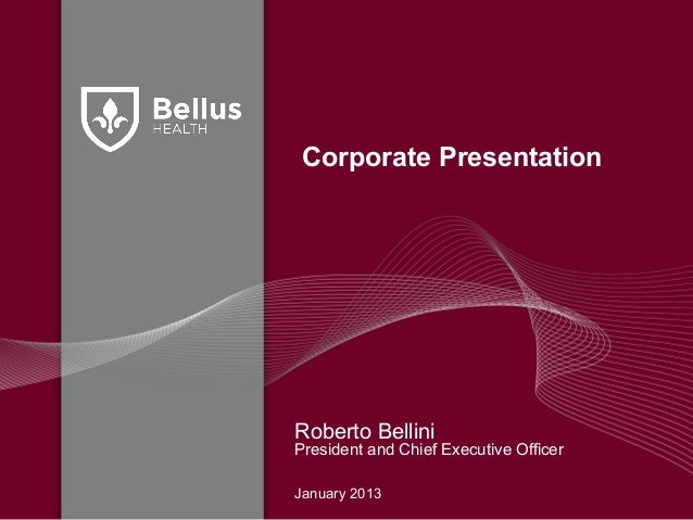 Corporate PresentationRoberto BelliniPresident and Chief Executive OfficerJanuary 2013