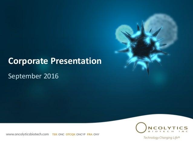 Corporate Presentation September 2016