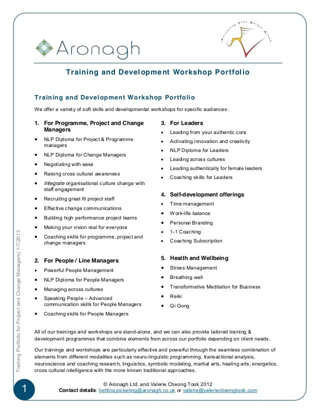 Training and Development Workshop Portfolio                                                                   Training and...