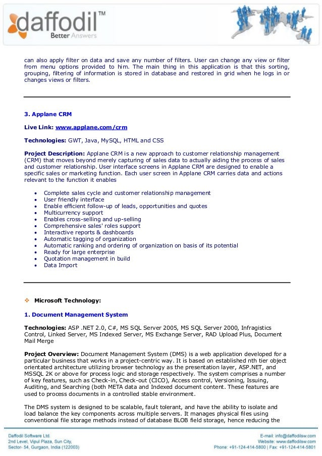 Corporate Resume Daffodil Software