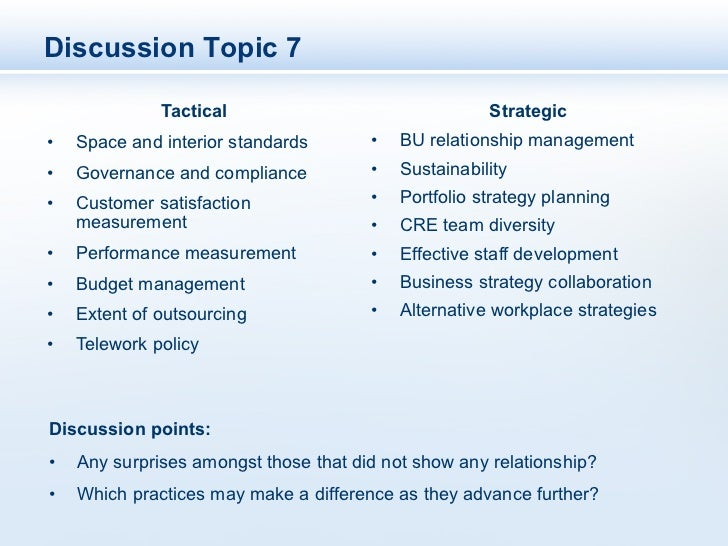 Discussion Topic 7               Tactical                                 Strategic•   Space and interior standards      ...
