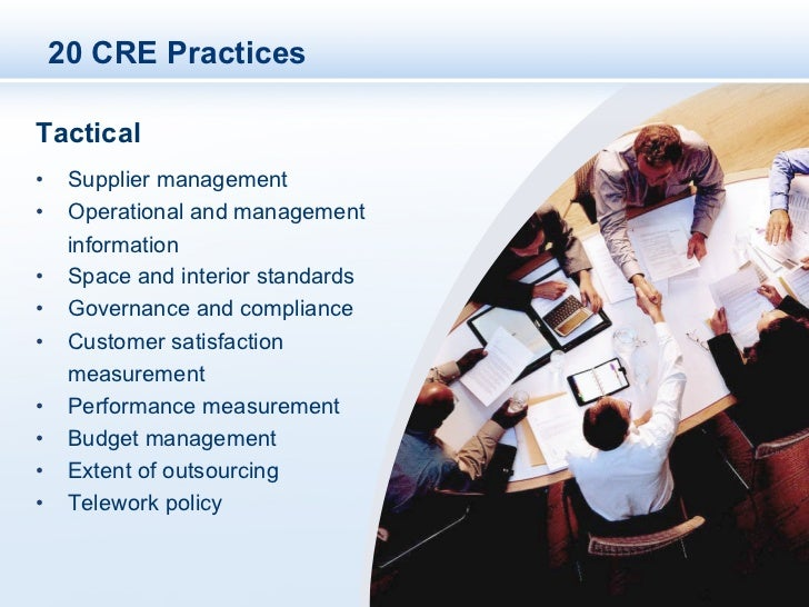 20 CRE PracticesTactical• Supplier management• Operational and management   information• Space and interior standards•...