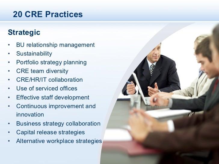 20 CRE PracticesStrategic• BU relationship management• Sustainability• Portfolio strategy planning• CRE team diversity...