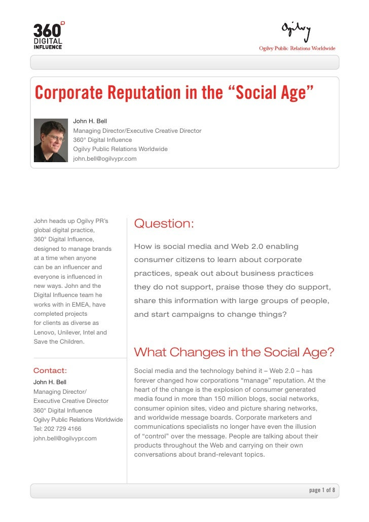 "Corporate Reputation in the ""Social Age""               John H. Bell               Managing Director/Executive Creative Dir..."
