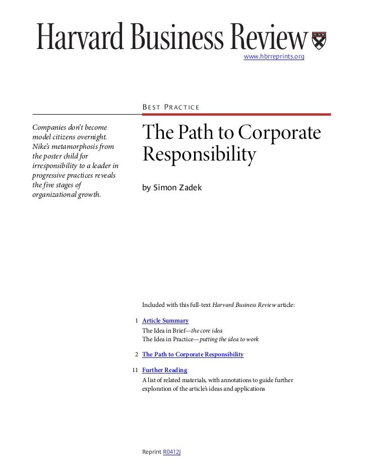 www.hbrreprints.org                                          BEST PRACTICE  Companies don't become model citizens overnigh...