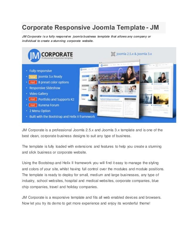 Corporate responsive joomla template