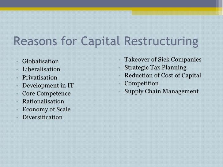 Reasons for Capital Restructuring <ul><li>Globalisation </li></ul><ul><li>Liberalisation </li></ul><ul><li>Privatisation <...
