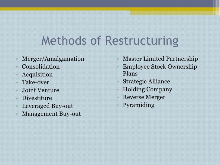 Methods of Restructuring <ul><li>Merger/Amalgamation </li></ul><ul><li>Consolidation </li></ul><ul><li>Acquisition </li></...