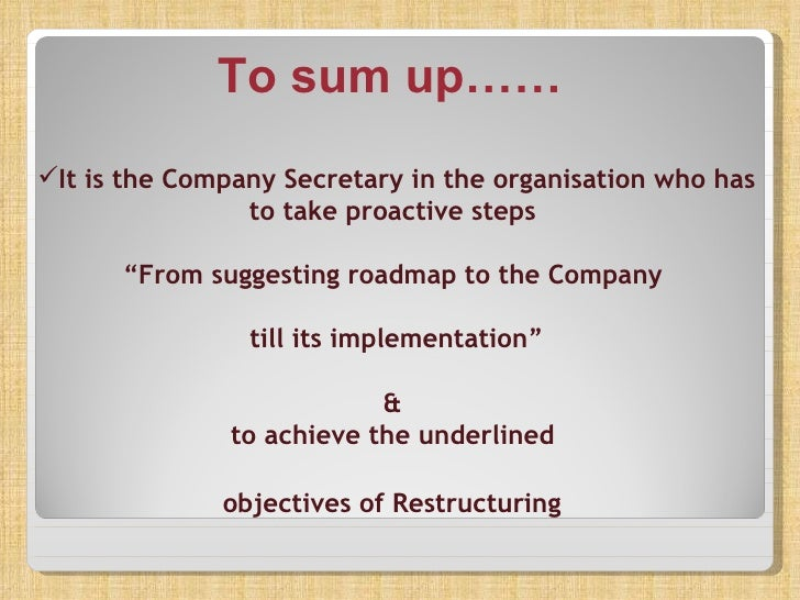 corporate restructuring essay In the report the researcher has analyzed the corporate restructuring process, why the firm use the restructuring process, the advantages and disadvantages of free essays essay writing help.