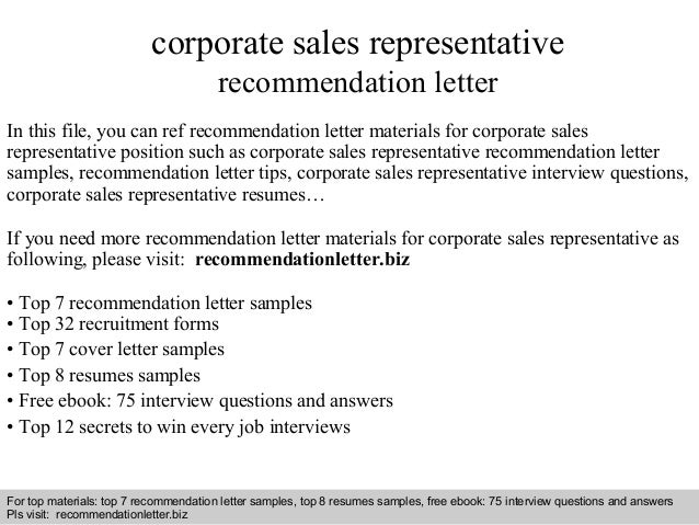 Corporate Sales Representative Recommendation Letter