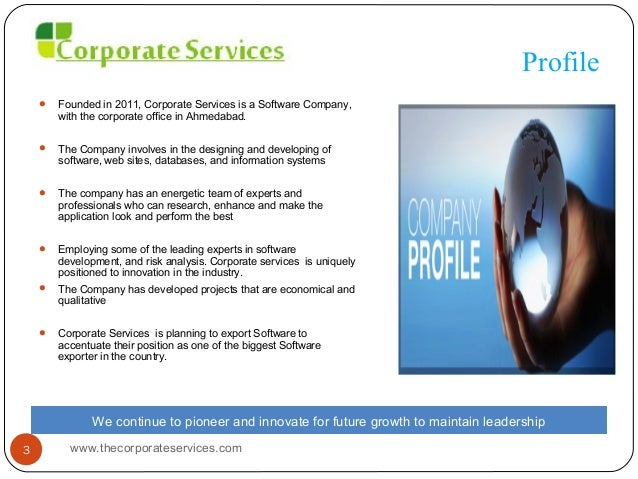 Software Company Profile Corporate services – Company Profile