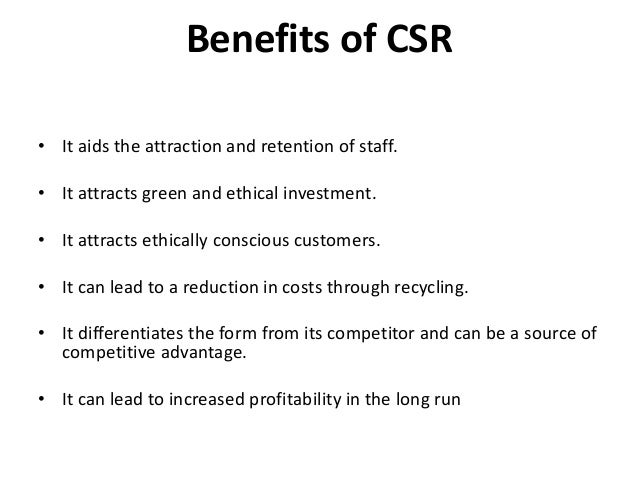 Costs and benefits of corporate social responsibility