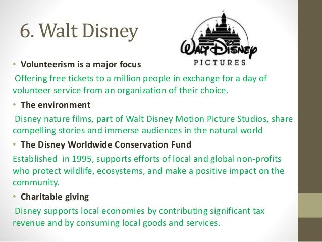 disney csr Philanthropy charitable giving  philanthropy disney is committed to providing comfort, happiness, and inspiration to kids and families around the globe 2017 csr update go to social responsibility charitable giving through contributions, collaborating with nonprofit organizations, in-kind gifts and employee volunteerism, disney brings.