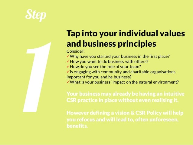 Review your business process Looking at your business processes in the sustainability (environment-social-profit) context ...