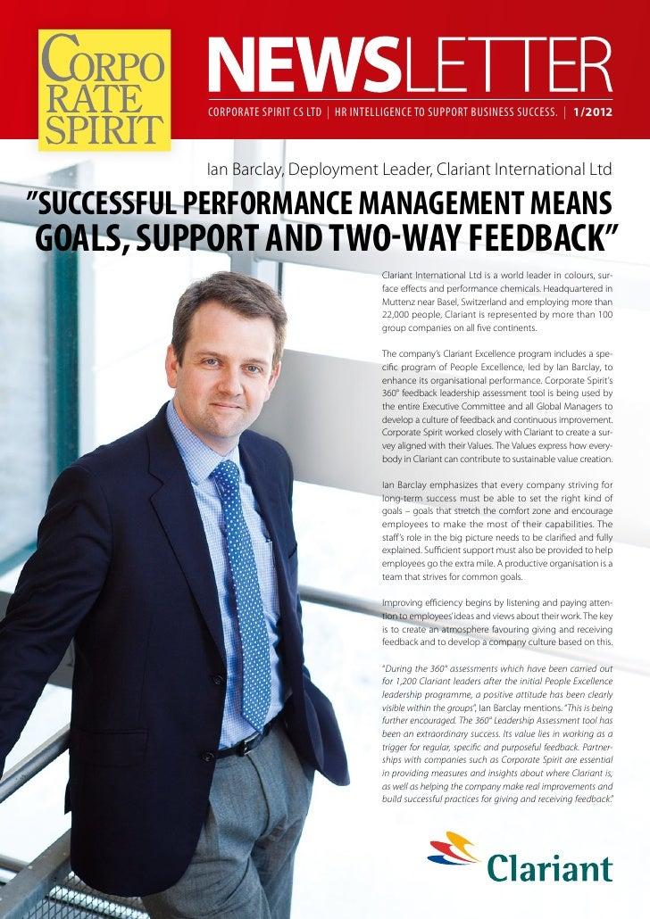 Corporate Spirit CS Ltd   HR Intelligence to support business success.   1/2012            Ian Barclay, Deployment Leader,...